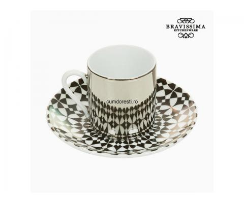 Cup with Plate Magic Porțelan Alb Negru - Kitchen's Deco Colectare by Bravissima Kitchen