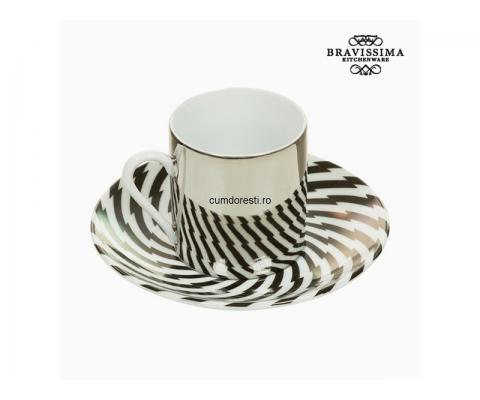 Cup with Plate Magic Porțelan Dungi - Kitchen's Deco Colectare by Bravissima Kitchen