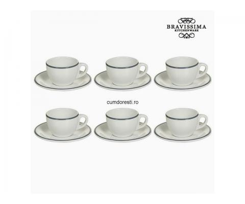 Set pentru Ceai Faianță Alb Gri (12 pcs) - Kitchen's Deco Colectare by Bravissima Kitchen