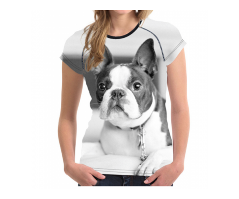 Tricou 3D Femei Boston Terrier Dog - S, M, L